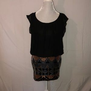 As U Wish Dress With Sequin Skirt Loose Top M